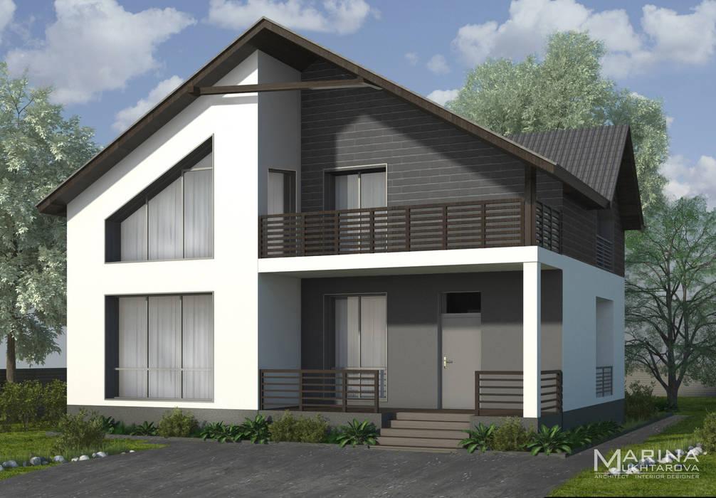 Главный фасад: Дома на одну семью в . Автор – Архитектор-дизайнер Марина Мухтарова, Минимализм Кирпичи