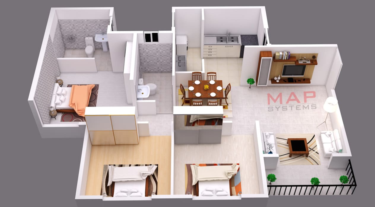 3d House Floor Plan Designs By Map Systems Homify