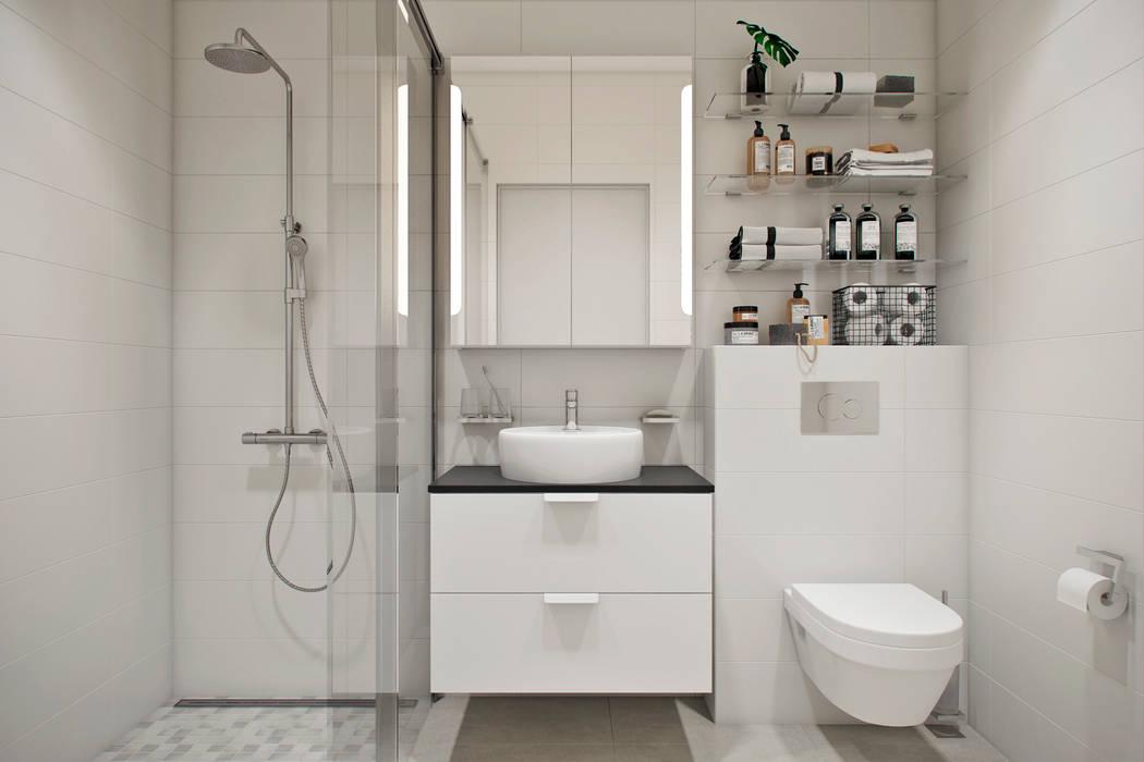 Квартира 42 кв.м. в современном стиле в ЖК Водный.: Ванные комнаты в . Автор – Студия архитектуры и дизайна Дарьи Ельниковой