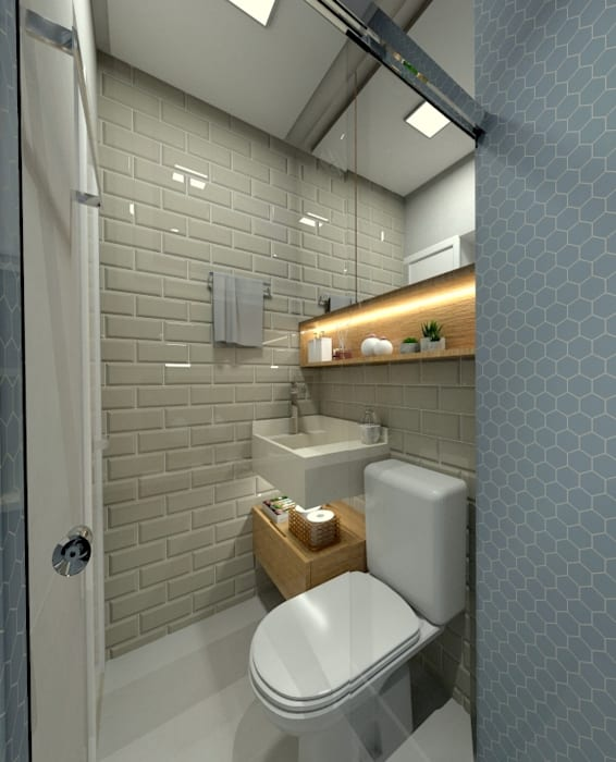 BANHO SOCIAL: Banheiros  por Letícia Saldanha Arquitetura,