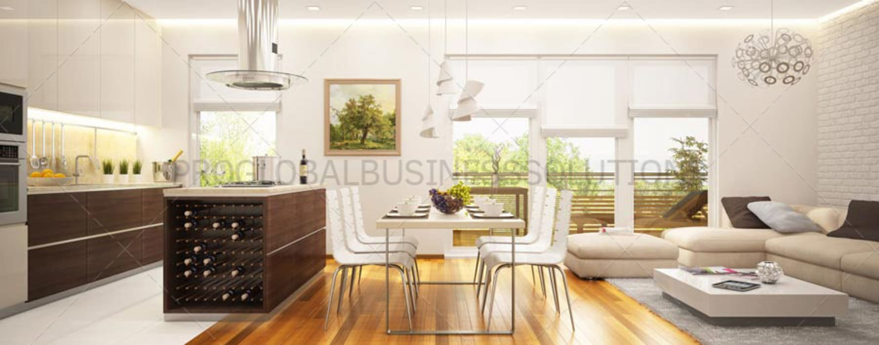 3D Architectural Rendering Services Modern Dining Room by Proglobalbusinesssolutions Modern
