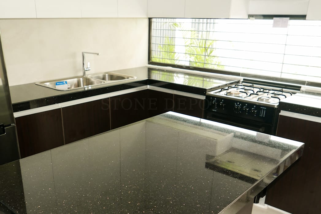 Black Galaxy Granite Kitchen Countertop and Island in Talisay City by Stone Depot Modern