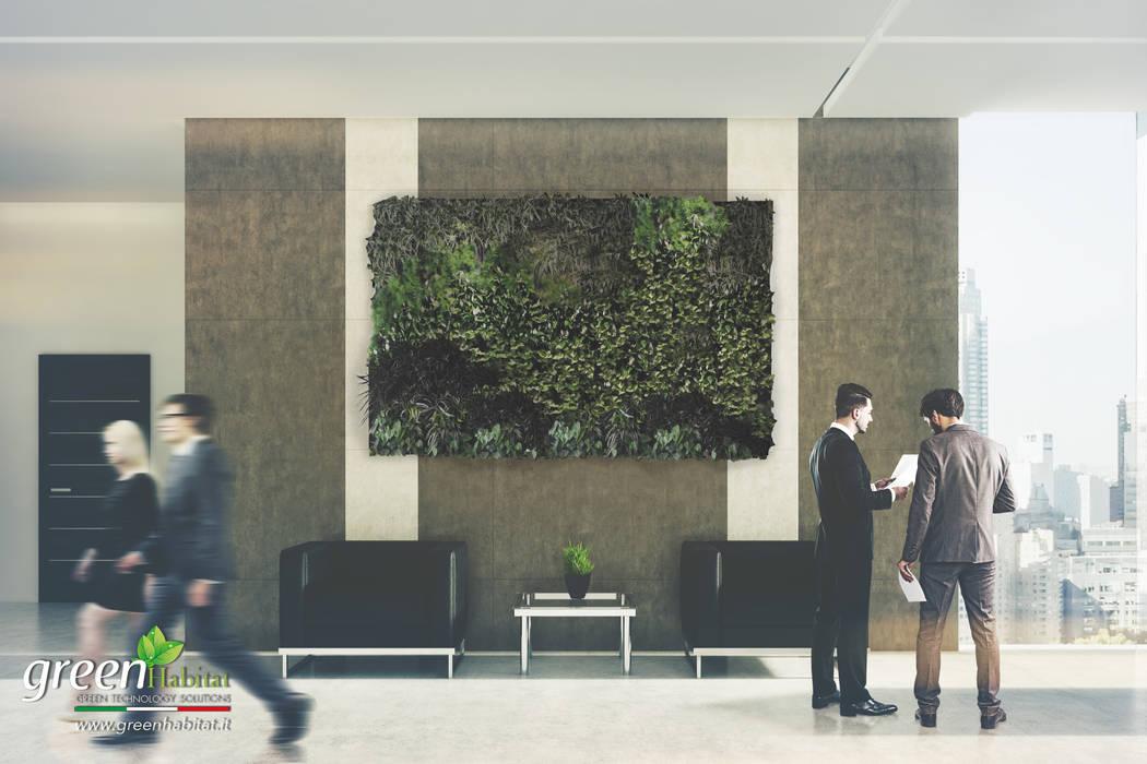 INGRESSO AZIENDA GIARDINO VERTICALE VIVO: Centri commerciali in stile  di Green Habitat s.r.l.