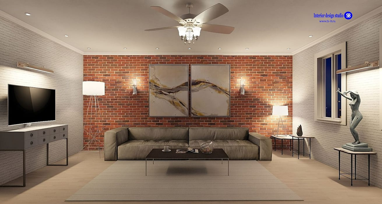 Living room  in Loft style:  Living room by 'Design studio S-8'