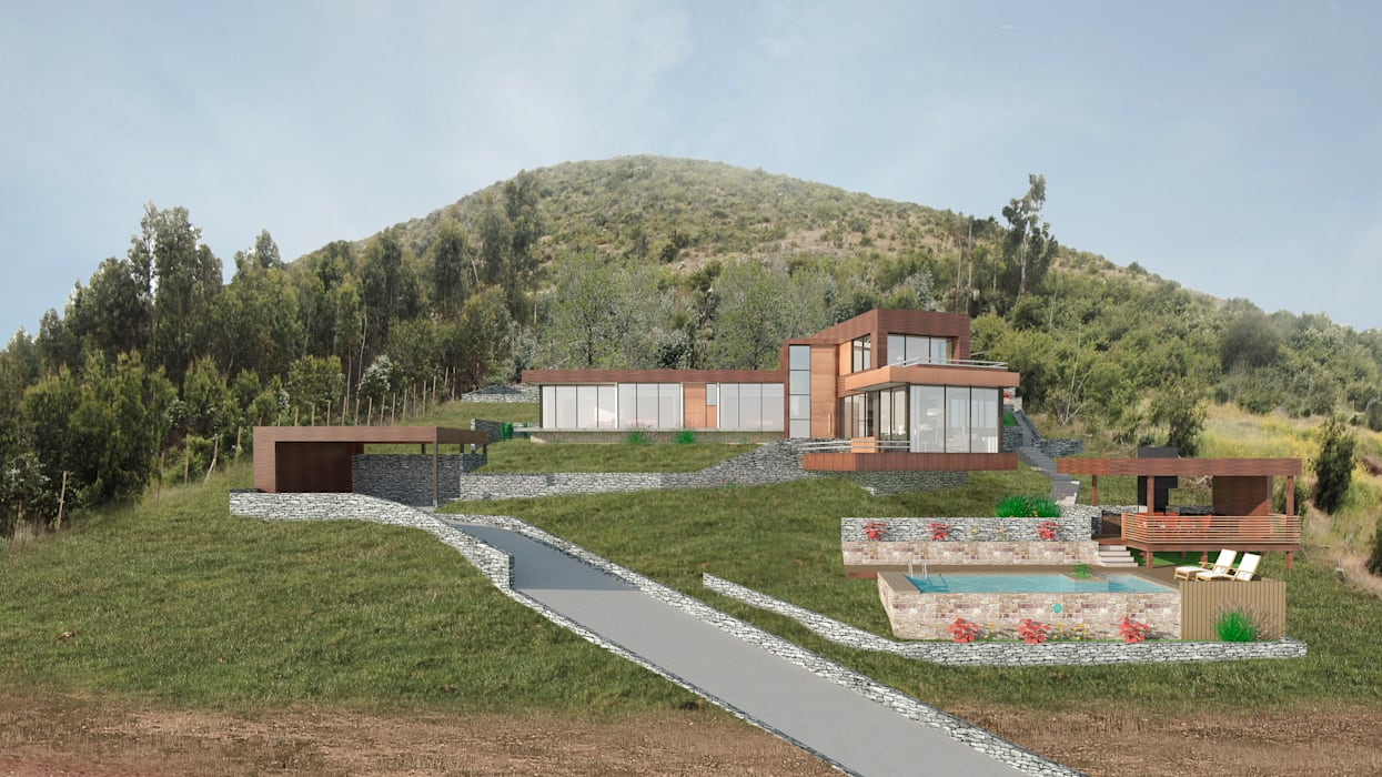 Vista frontal Casas estilo moderno: ideas, arquitectura e imágenes de Uno Arquitectura Moderno Madera Acabado en madera