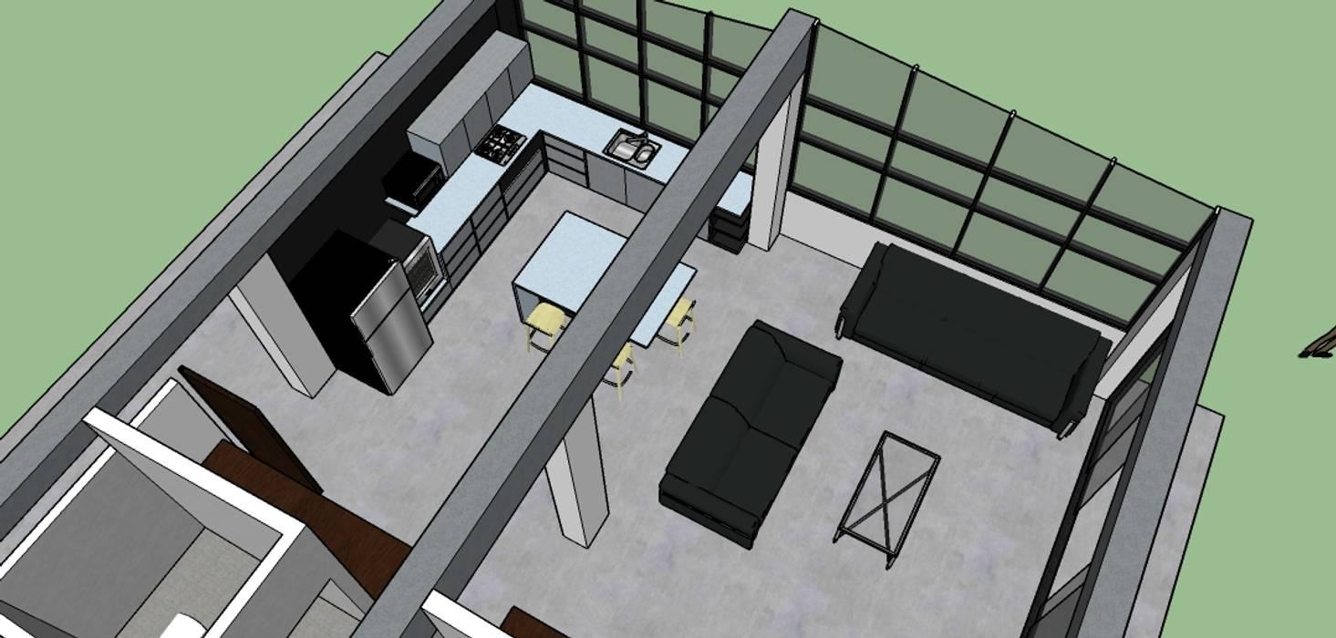 vista area cocina sala: Salas de estilo ecléctico por Proyectos Kukenán SAS