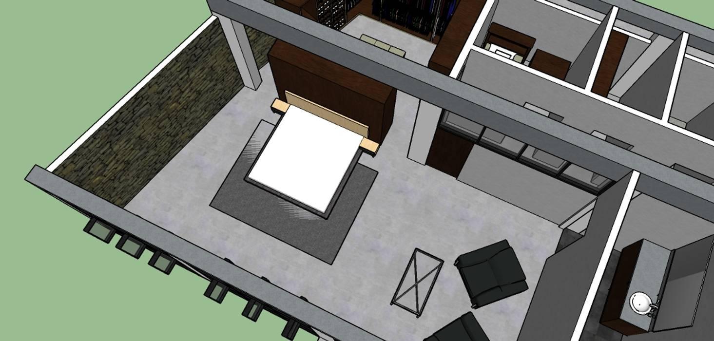 Habitacion Principal con vestier: Habitaciones de estilo ecléctico por Proyectos Kukenán SAS