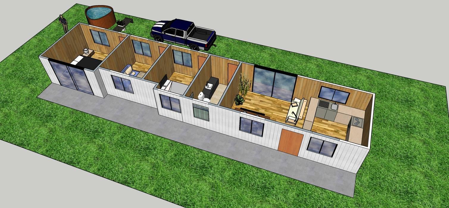 Diseño de redistribución casa de campo: Casas de campo de estilo  por Constructora ANyG