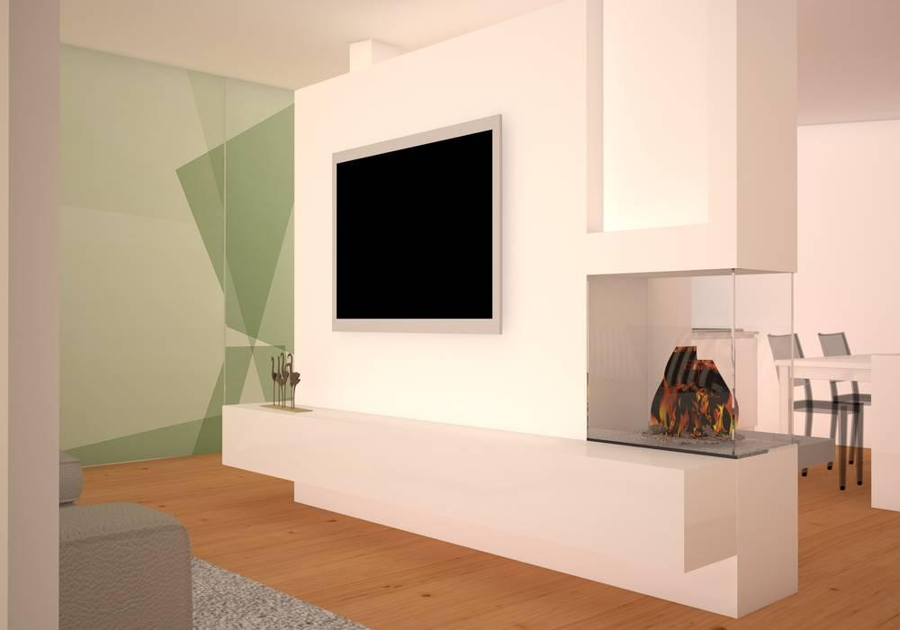 Divisorio soggiorno/cucina: soggiorno in stile in stile moderno di ...