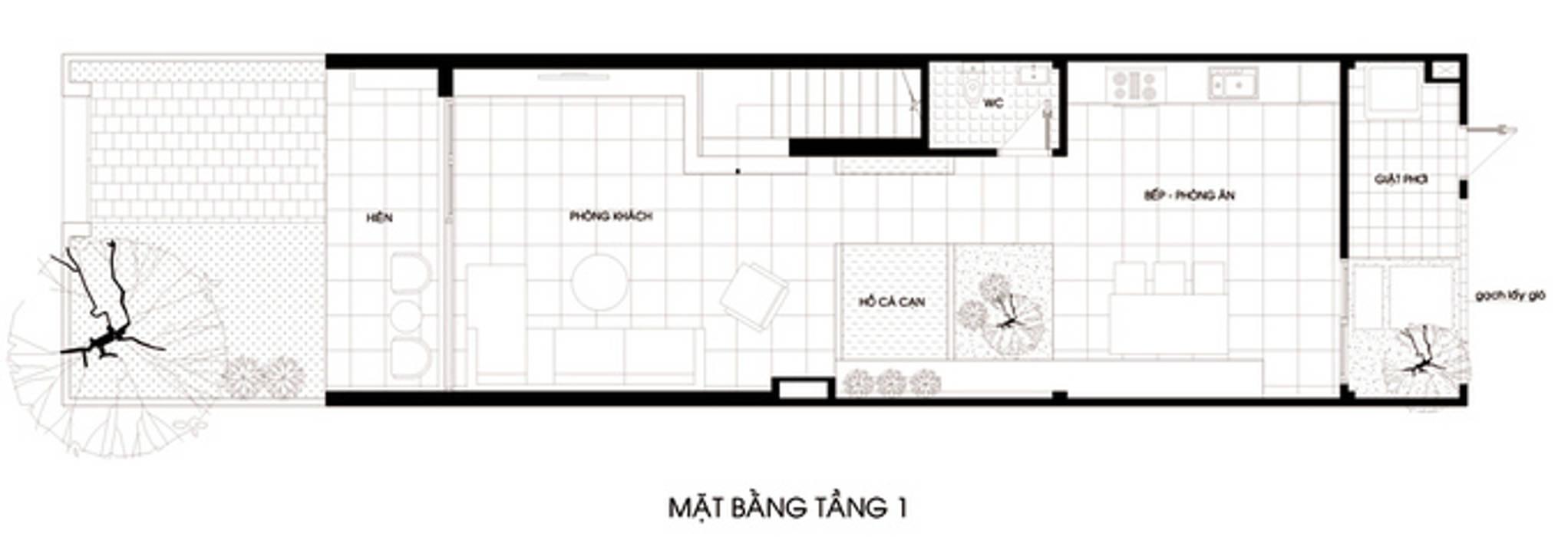 Thiết kế bản vẽ mặt bằng nhà ống 2 tầng bởi Công ty TNHH Xây Dựng TM – DV Song Phát Hiện đại