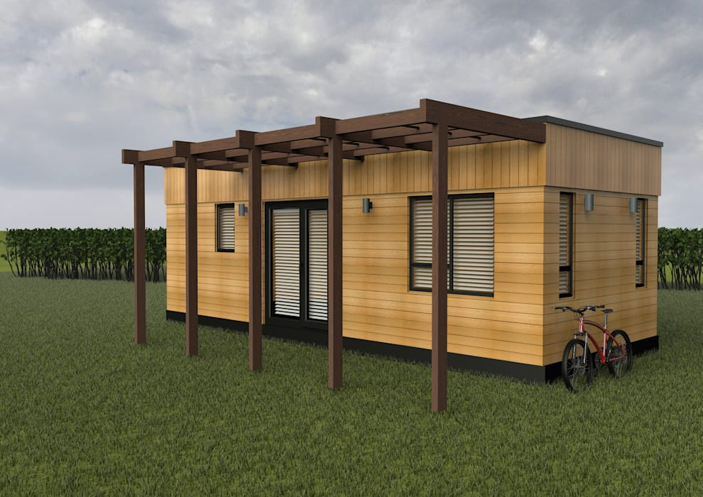 Micro Lodges Oleh Building With Frames Minimalis Kayu Wood effect
