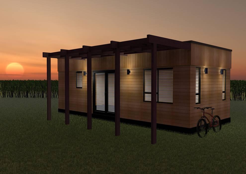 Micro Lodge Oleh Building With Frames Minimalis Kayu Wood effect
