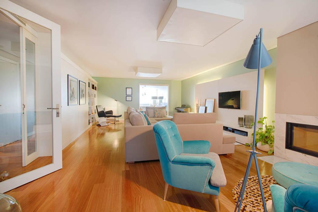 Apartamento Edifício do Parque - T3 MATOSINHOS Salas de estar escandinavas por SHI Studio, Sheila Moura Azevedo Interior Design Escandinavo