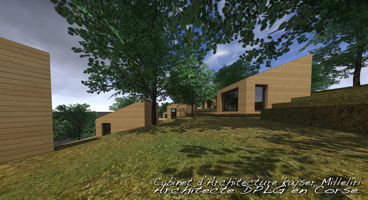 résidence écologique en Corse: Maisons de style  par Cabinet d'Architecture Kayser Milleliri, Architecte DPLG en Corse