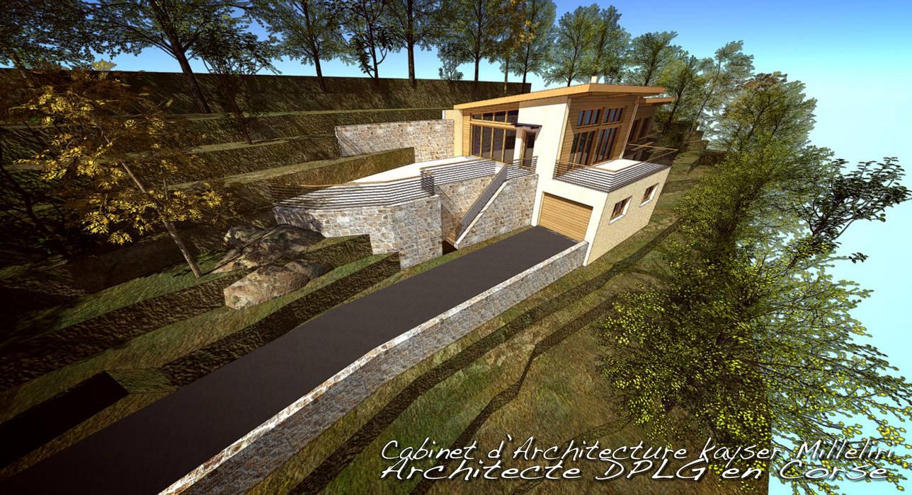 maison écologique en Corse: Maison individuelle de style  par Cabinet d'Architecture Kayser Milleliri, Architecte DPLG en Corse