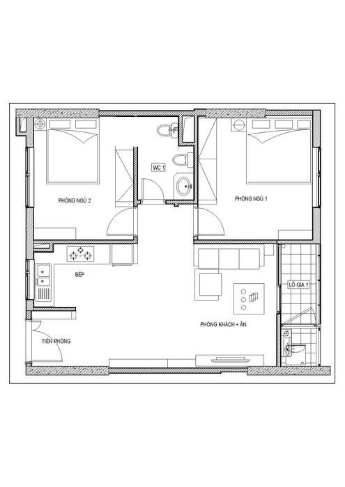 Thiết kế nội thất chung cư Mardarin garden 2, Hoà Phát – Chị An:   by Công ty CP Kiến trúc V-Home,