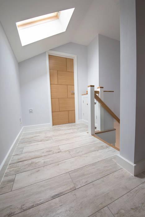 Coastal Rebuild: Pebbleshore Wood Effect Porcelain Quorn Stone Scandinavian style corridor, hallway& stairs Tiles