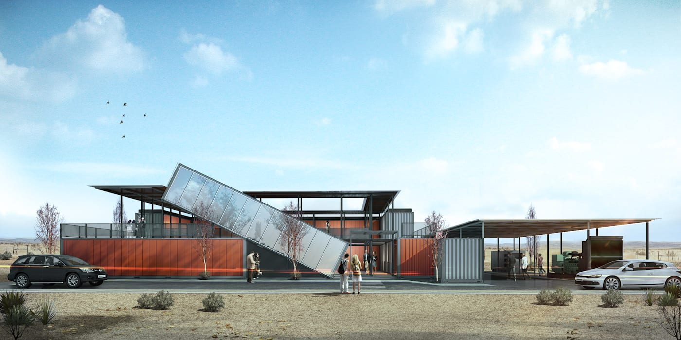 Office Container Kantor & Toko Gaya Industrial Oleh Roemah Cantik Industrial Aluminium/Seng