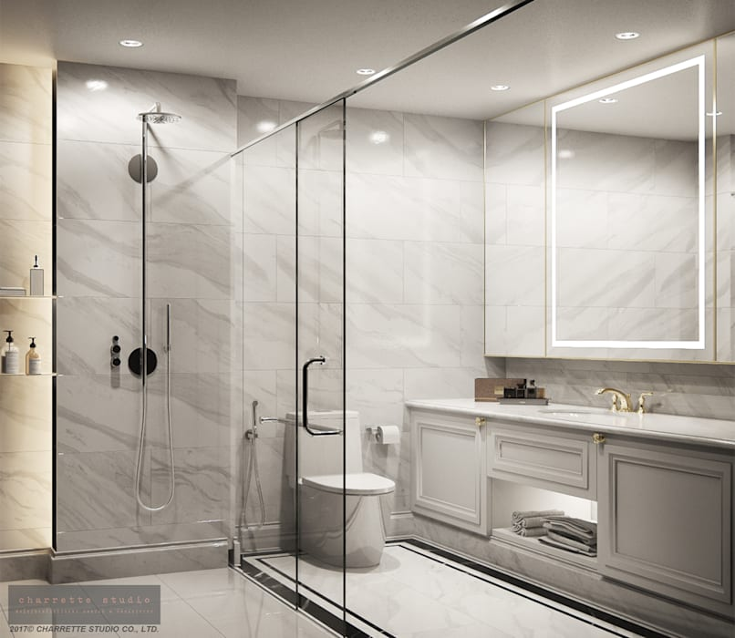 Master Bathroom:  ห้องน้ำ โดย Charrette Studio Co., Ltd.,