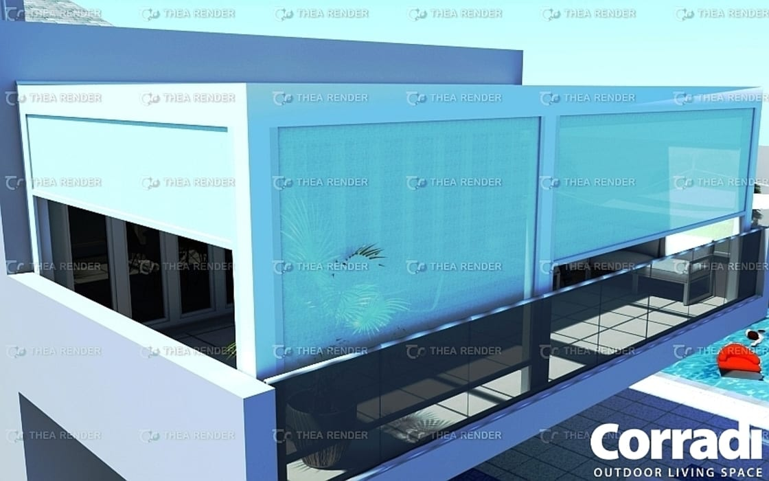 UPPER BEDROOMS -PERGOTENDA MAESTRO - SCREENS CLOSED:  Patios by Corradi Outdoor Living Space