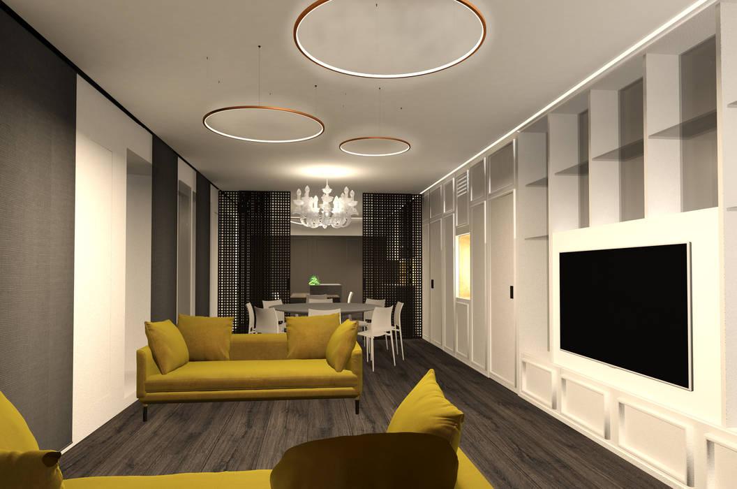 soggiorno open space: Soggiorno in stile in stile Moderno di Giemmecontract srl.