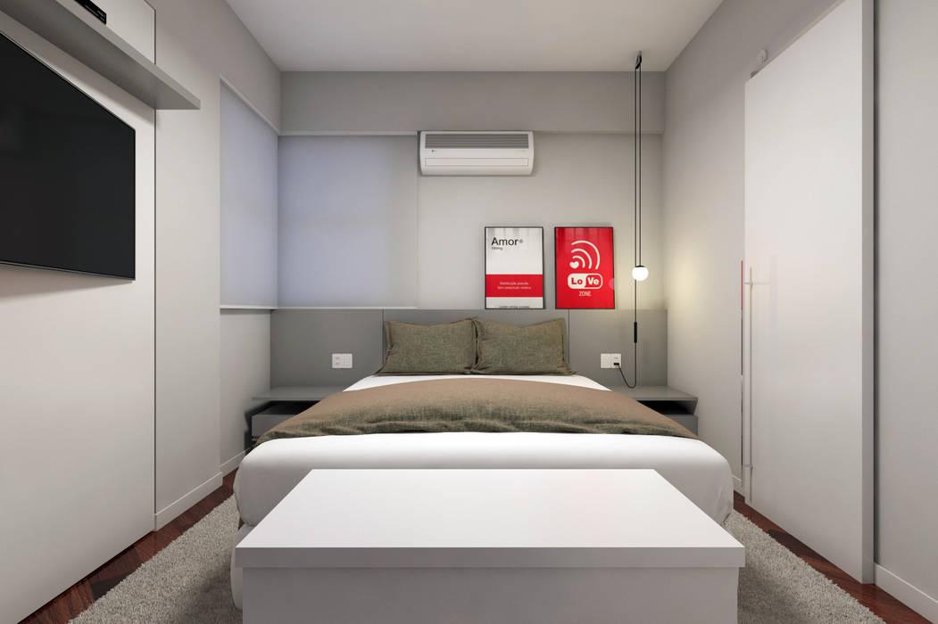 Quarto Casal RAFE Arquitetura e Design Quartos minimalistas MDF Cinza