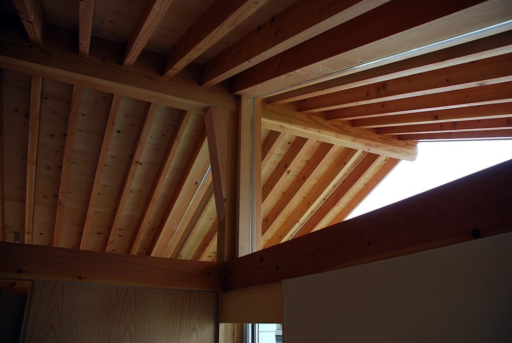 Midwifery home by the sea: 丸菱建築計画事務所 MALUBISHI ARCHITECTSが手掛けた切妻屋根です。,北欧 無垢材 多色