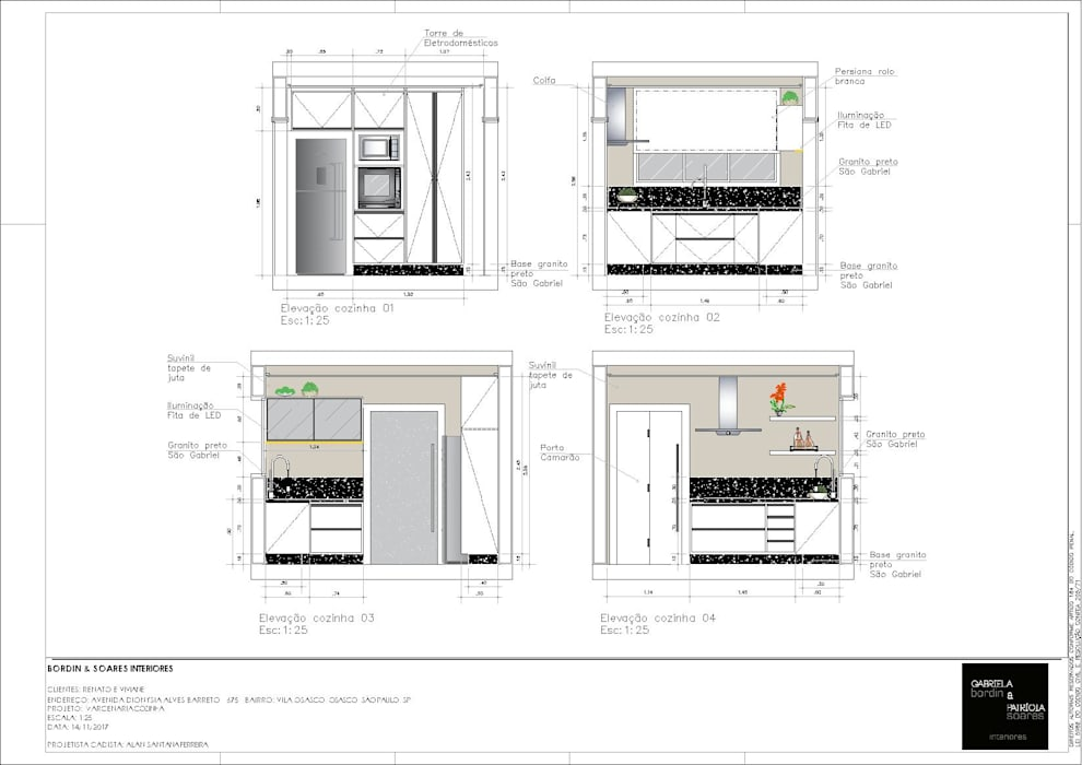 Projeto Residencial - Elevações cozinha: Cozinhas embutidas  por A|S Studio Criativo 3D -  Soluções Inteligentes em projetos técnicos,Moderno