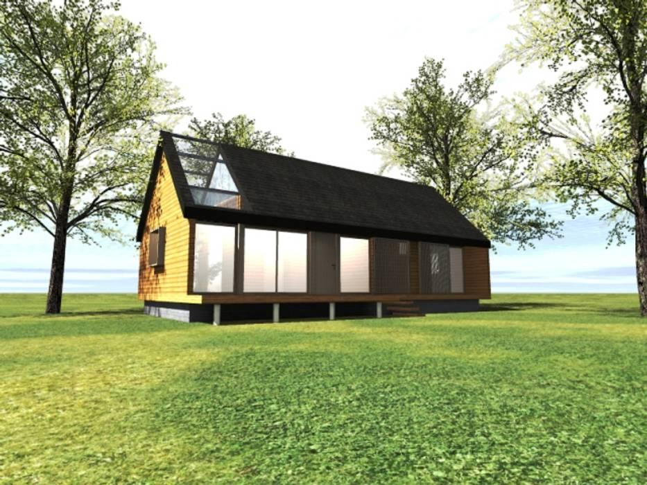 Fachada patio interior casa rural - Arquitectos en Coyhaique Casas unifamiliares