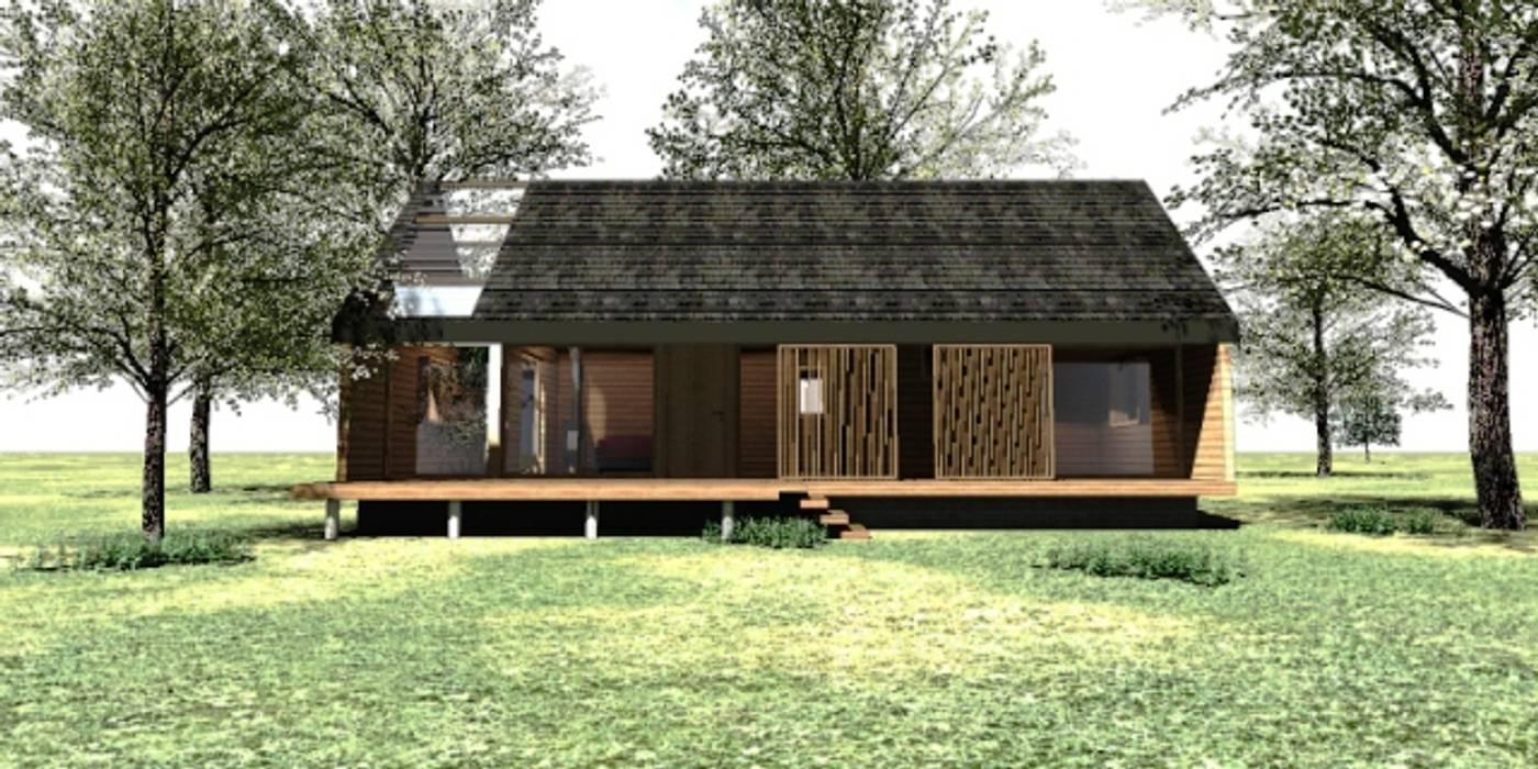 Fachada principal casa rural - Arquitectos en Coyhaique Casas de campo