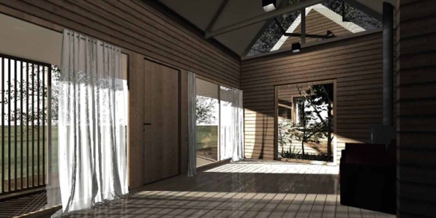 Interior casa modular casa rural - Arquitectos en Coyhaique Pasillos, halls y escaleras rurales