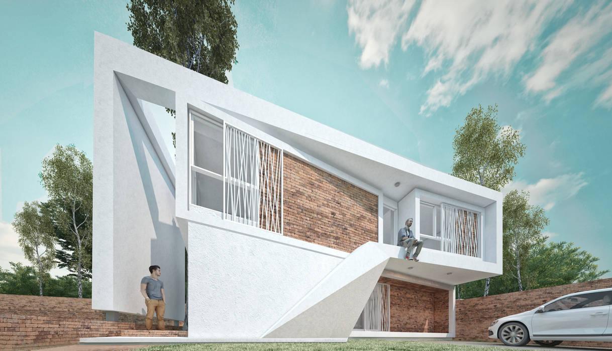 Fachada principal: Casas de estilo moderno por síncresis arquitectos