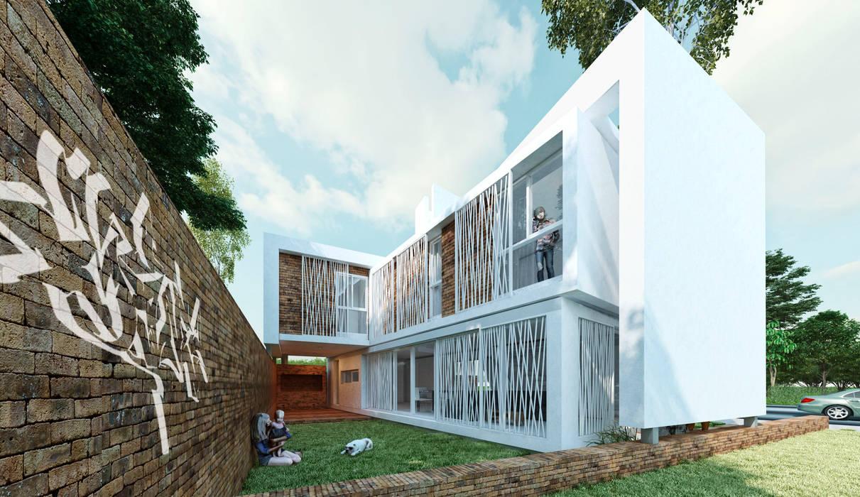 Vista desde patio: Casas de estilo  por síncresis arquitectos