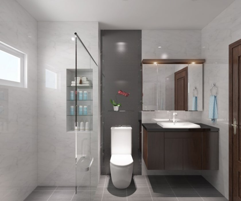 Hình ảnh 3D thiết kế nội thất :  Phòng tắm by Công ty TNHH Xây Dựng TM – DV Song Phát, Hiện đại