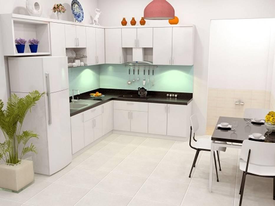 Xây nhà 2 tầng thiết kế 3 phòng ngủ rộng thoáng chỉ với 680 triệu:  Tủ bếp by Công ty TNHH Xây Dựng TM – DV Song Phát