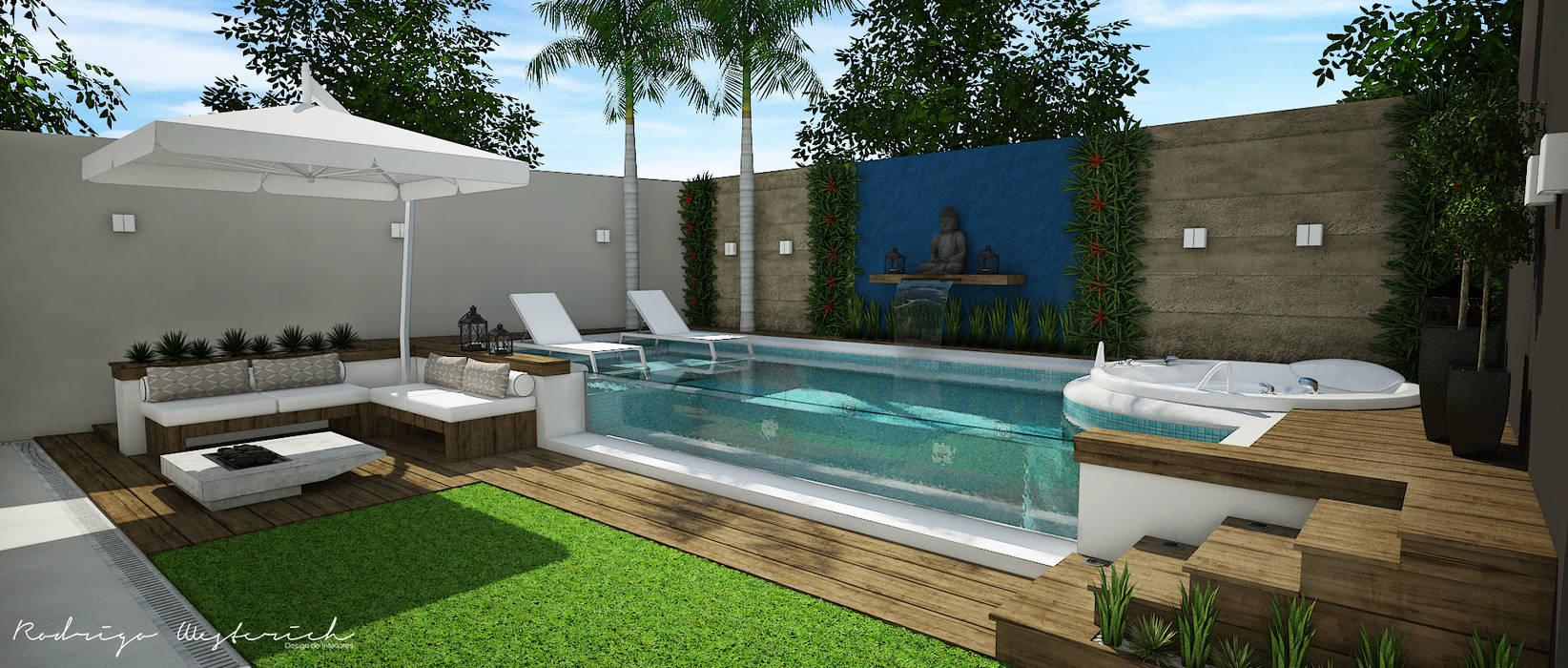 Área externa u2013 piscina piscinas de jardim por rodrigo westerich design de interiores, homify -> Decoracao De Area Externa Com Piscina