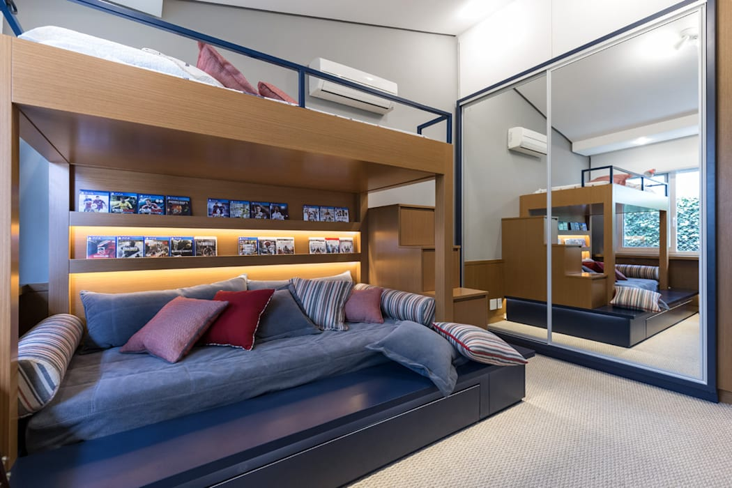 projeto dormitório menino por ABHP ARQUITETURA Moderno Madeira Efeito de madeira