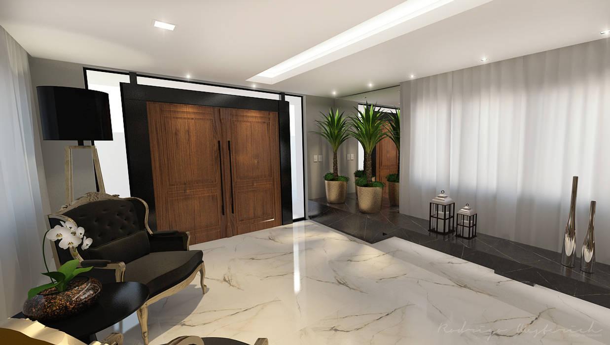 Hall de Entrada - Condomínio Residencial Mund Corredores, halls e escadas modernos por Rodrigo Westerich - Design de Interiores Moderno Madeira Efeito de madeira