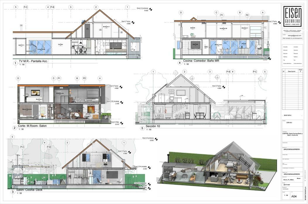 Cortes e Isometria corte 3d. EISEN Arquitectura + Construccion Salas de estilo minimalista Madera Blanco