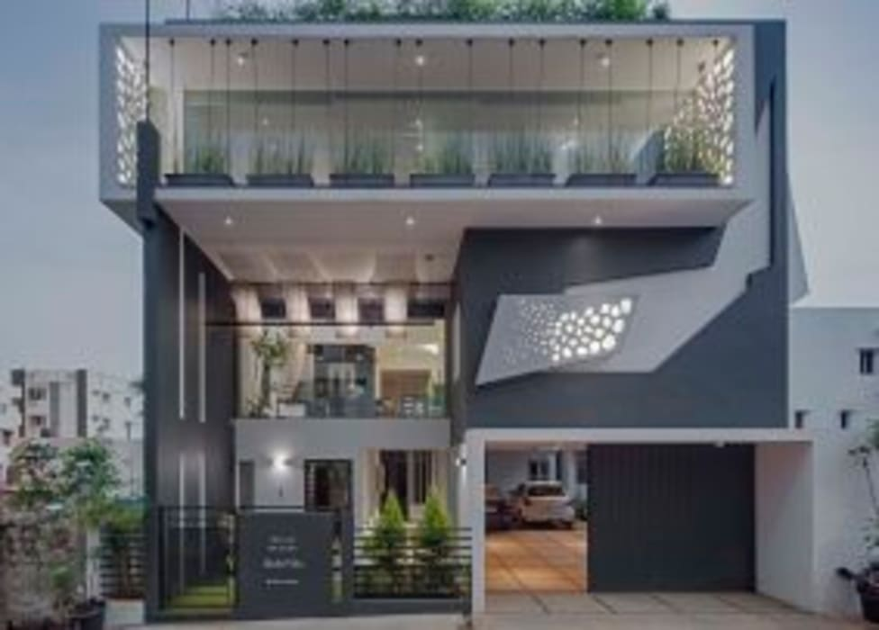 Striking House Front Elevation: 40×60, 4bhk: Houses By