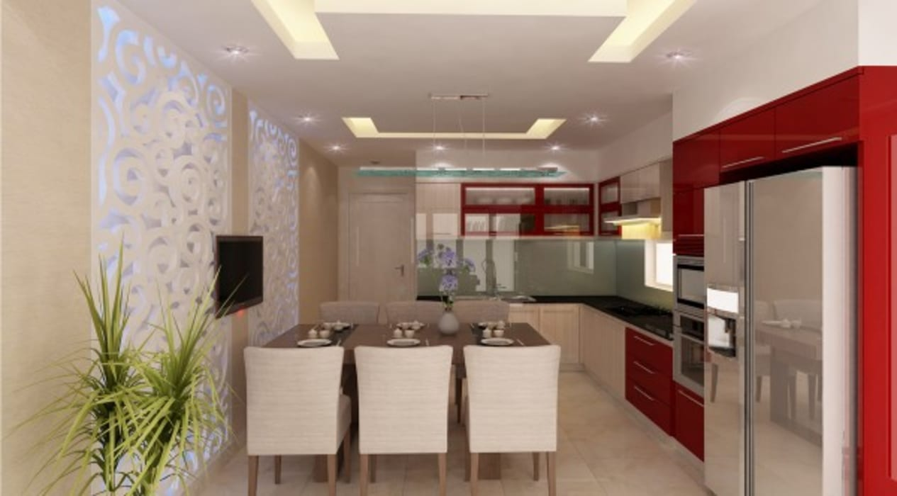 Khu vực phòng khách – bếp – phòng ăn:  Phòng ăn by Công ty TNHH Xây Dựng TM – DV Song Phát