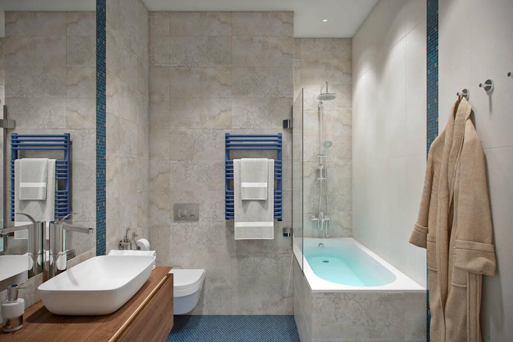 Квартира 80 кв.м. в современном стиле в ЖК «Квартал 38А»: Ванные комнаты в . Автор – Студия архитектуры и дизайна Дарьи Ельниковой