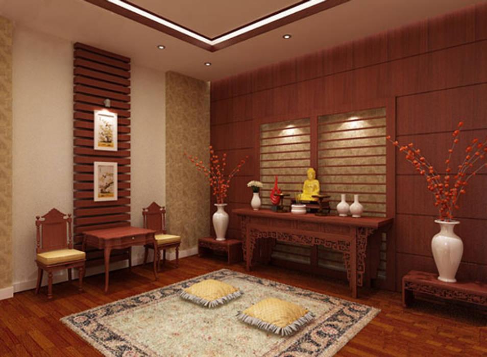 Không gian tôn nghiêm và thiêng liêng tại phòng thờ.:  Nhà gia đình by Công ty TNHH TK XD Song Phát, Châu Á Đồng / Đồng / Đồng thau