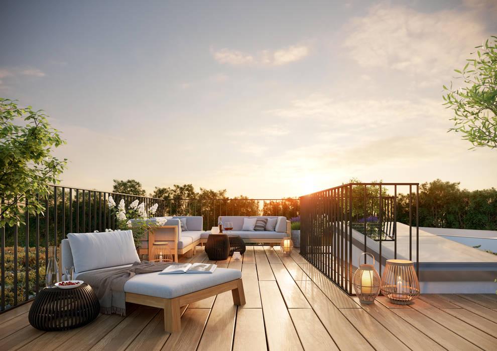 Greenside – der Name ist Programm Moderner Balkon, Veranda & Terrasse von JLL Residential Development Modern