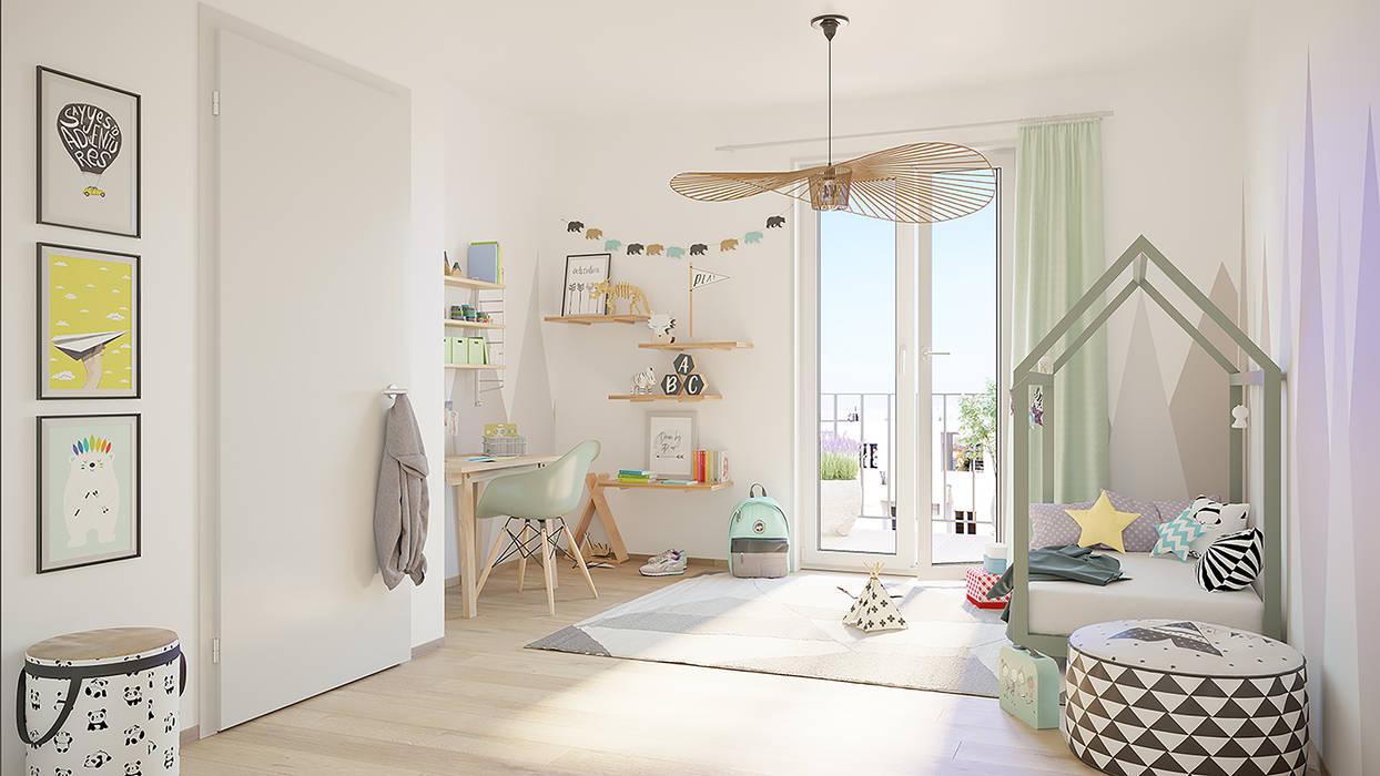 Fünf Wohlfühlfaktoren in den Greenside-Apartments: Moderne Kinderzimmer von homify Modern