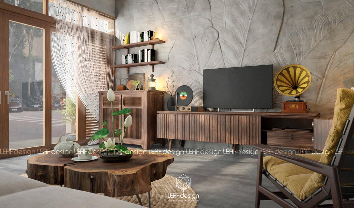 Cảm xúc Á Đông - Nhà phố Sài Gòn:  Phòng khách by LEAF Design , Châu Á