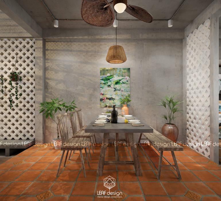 Cảm xúc Á Đông - Nhà phố Sài Gòn Phòng ăn phong cách châu Á bởi LEAF Design Châu Á
