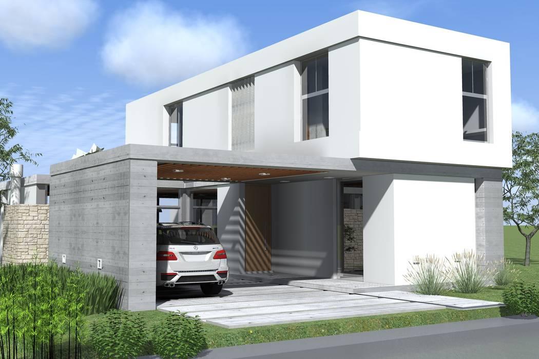 Fachada de frente - cochera semicubierta Casas modernas: Ideas, imágenes y decoración de Arquitectura Bur Zurita Moderno