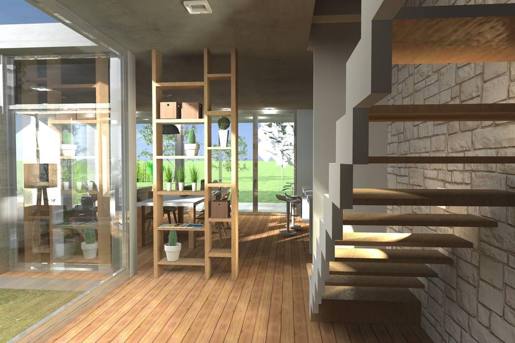 Modern Corridor, Hallway and Staircase by Arquitectura Bur Zurita Modern