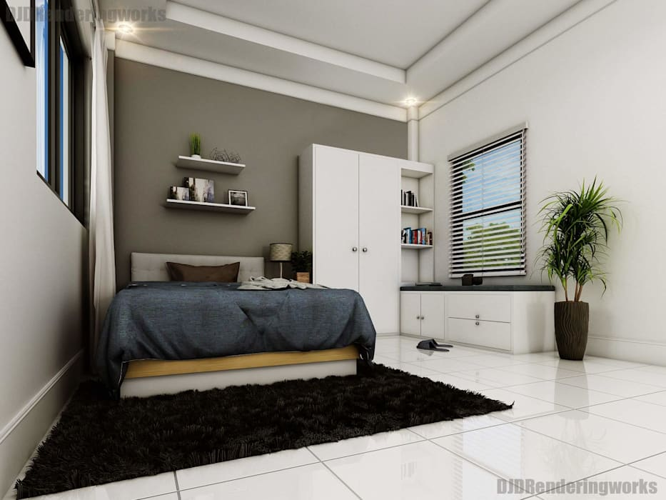 Modern Bedroom with window seater:  Bedroom by DJD Visualization and Rendering Services,